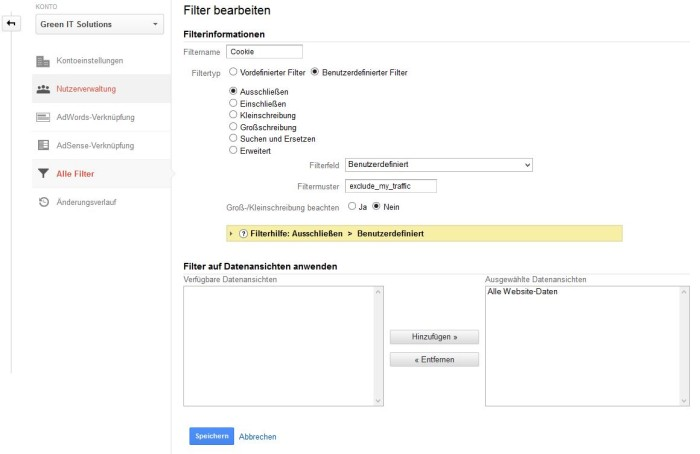 Google Analytics Cookie Filter eintragen
