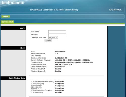 Technicolor EPC3940ADL Modem Login Daten